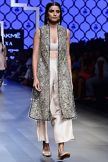 Navy Blue Embroidered Jacket with Bustier and Palazzo Pants Set by Payal Singhal