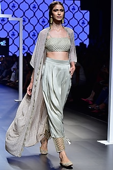 Grey Embroidered Bustier with Pants and Cape Set by Payal Singhal
