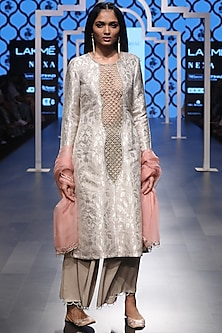 Grey Embroidered Kurta and Palazzo Pants Set by Payal Singhal