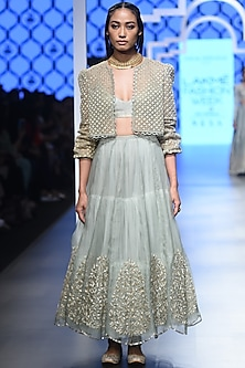 Mint Embroidered Jacket with Bustier and Skirt Set by Payal Singhal