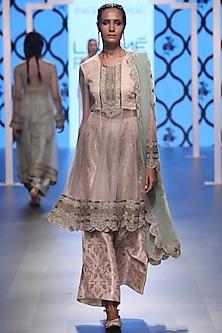 Blush Embroidered Kurta and Palazzo Pants Set by Payal Singhal