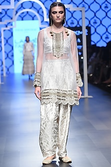 Stone Embroidered Kurta with Bustier and Pants Set by Payal Singhal