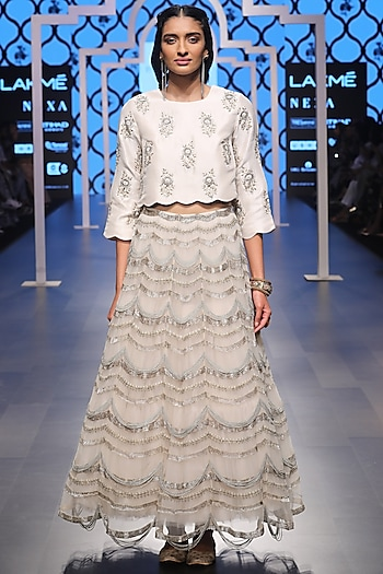 Stone Embroidered Choli with Scallop Lehenga by Payal Singhal