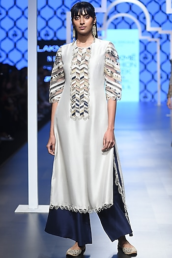 Stone Embroidered Kurta with Navy Blue Palazzo Pants by Payal Singhal