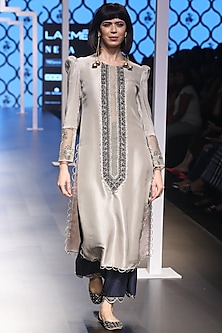 Grey Embroidered Kurta with Navy Blue Pants by Payal Singhal