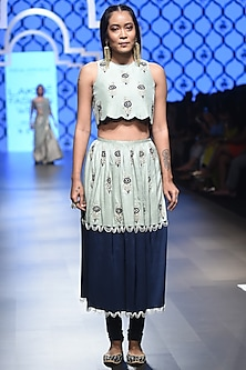 Mint Embroidered Crop Top with Churidar Skirt by Payal Singhal