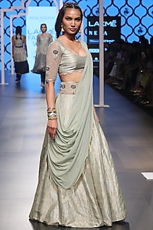 Mint Embroidered Drape Lehenga Set by Payal Singhal