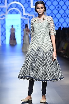 Mint and Navy Blue Embroidered Kurta with Churidar by Payal Singhal