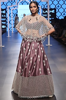 Eggplant Embroidered Lehenga with Bustier and Cape Set by Payal Singhal