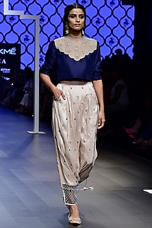 Navy Blue Embroidered Crop Top with Blush Low Crotch Pants 