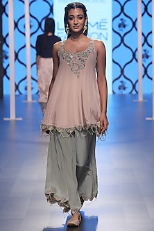 Blush Embroidered Kurta with Mint Green Palazzo Pants by Payal Singhal