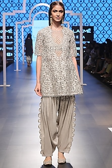 Grey Embroidered Kurta with Bustier and Salwar Set by Payal Singhal