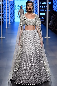 Grey Embroidered Lehenga Set by Payal Singhal