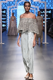 Powder Blue Embroidered Off-Shoulder Cape with Cowl Pants by Payal Singhal