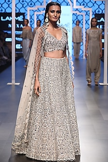 Blush Embroidered Cutwork Lehenga Set by Payal Singhal