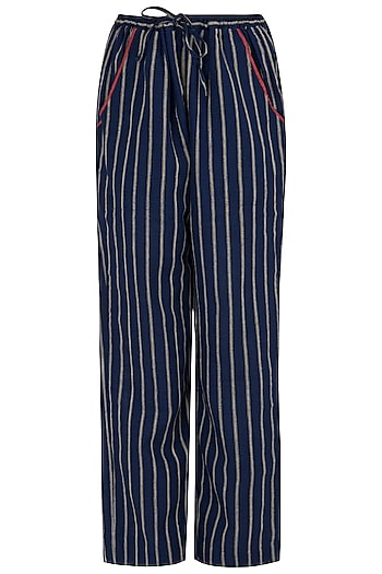 Navy Striped Pants by Payal Pratap