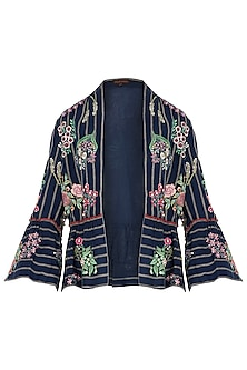 Navy Floral Embroidered Jacket by Payal Pratap