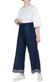 Navy Elasticated Pants by Payal Pratap