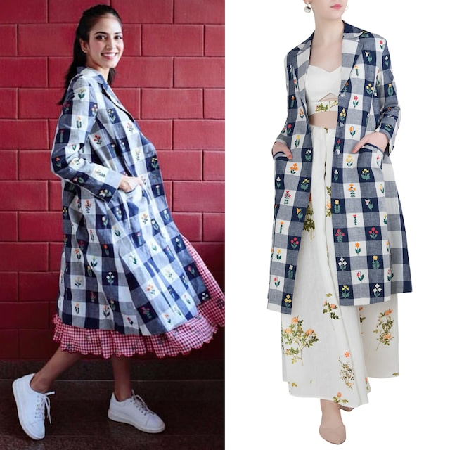 Navy Embroidered Checks Jacket by Payal Pratap