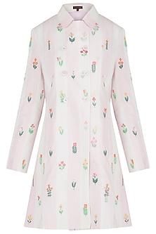 Pink Embroidered Checks Coat by Payal Pratap