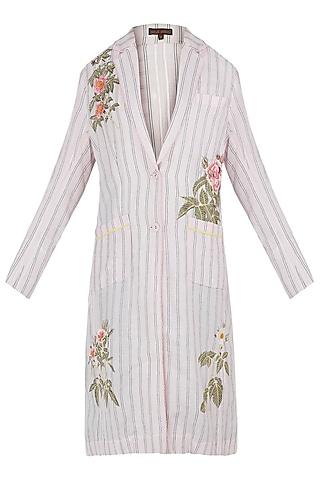 Pink Embroidered Striped Jacket by Payal Pratap
