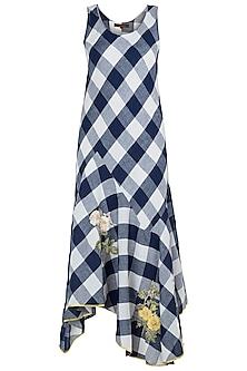 Navy Embroidered Checks Dress by Payal Pratap
