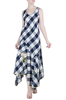 Navy Embroidered Checks Dress by Payal Pratap