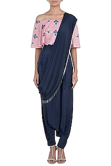 Coral & Navy Blue Printed Choli Top With Pants & Attached Dupatta by Payal Singhal Pret