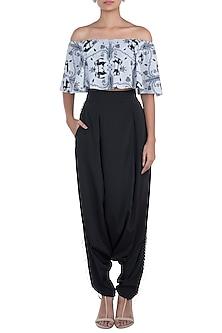 Grey & Black Printed Choli Top With Pants by Payal Singhal Pret