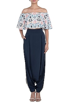 Cream & Navy Blue Printed Choli Top With Pants by Payal Singhal Pret