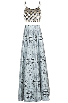 Black & Powder Blue Embroidered Lehenga Set by Payal Singhal Pret