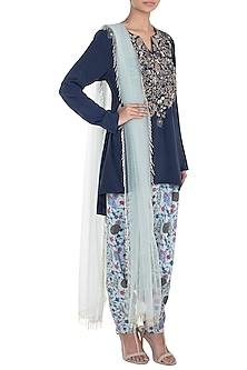 Mint & Navy Blue Printed Kurta Set by Payal Singhal Pret