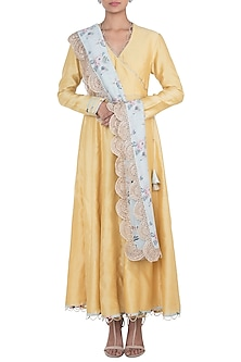 Pale Yellow Kurta With Churidaar Pants & Printed Dupatta by Payal Singhal Pret