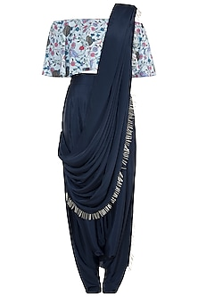 Mint & Navy Blue Printed Off Shoulder Top With Pants & Attached Dupatta by Payal Singhal Pret