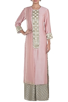 Rose Pink Embroidered Kurta Set by Payal Singhal Pret