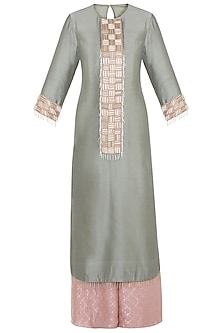Mint Embroidered Kurta Set by Payal Singhal Pret