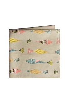 Beige Fish Printed Pocket Square by Payal Singhal Men