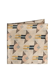 Cream Arrow Printed Pocket Square by Payal Singhal Men
