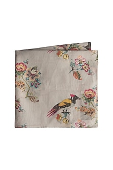 Grey Koel Chintz Printed Pocket Square by Payal Singhal Men