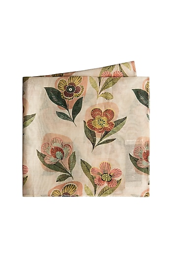 Cream Retro Floral Printed Pocket Square by Payal Singhal Men