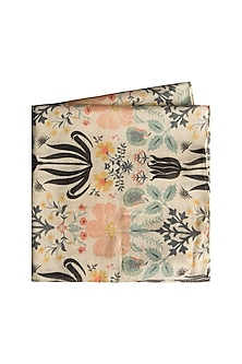 Cream Tulip Garden Printed Pocket Square by Payal Singhal Men