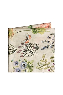 Ivory Titli Printed Pocket Square by Payal Singhal Men-GIFTS FOR HIM