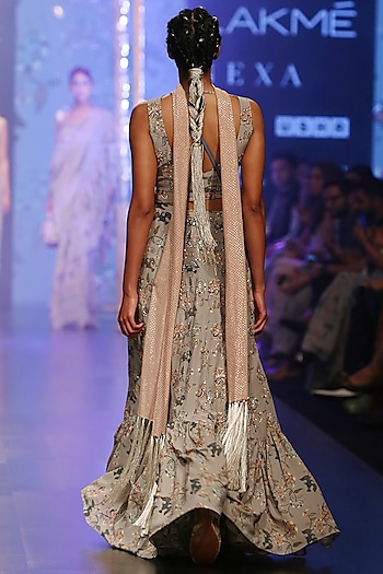 Mint Blue Printed Embroidered Frill Lehenga Set by Payal Singhal