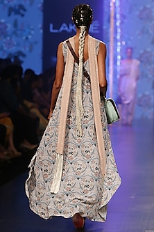 Powder Blue Printed Embroidered Top With Palazzo Pants & Dupatta by Payal Singhal