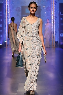 Powder Blue Printed Embroidered Kaftan Dress by Payal Singhal