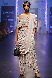 Powder Blue & Mint Printed Embroidered Off Shoulder Top With Low Crotch Pants & Attached dupatta by Payal Singhal