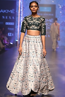 Emerald Green Embroidered Blouse With Powder Blue Lehenga Skirt by Payal Singhal