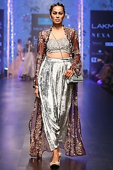 Periwinkle Blue Embroidered Bustier With Pants & Purple Jacket by Payal Singhal