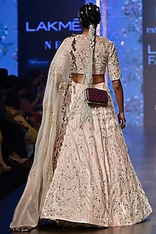 Nude Embroidered Lehenga Set by Payal Singhal