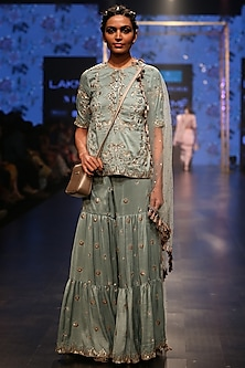Periwinkle Blue Embroidered Sharara Set by Payal Singhal